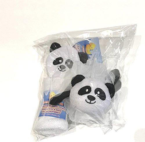 Adorable Panda Bear Bath Sponge And Microfiber Hand Towel - Panda Bear Bath
