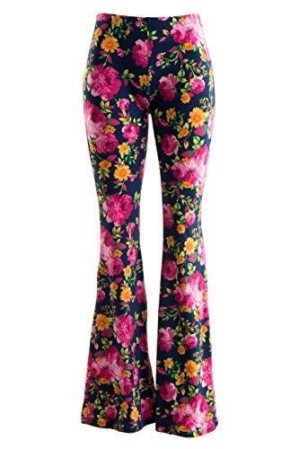 Fashionomics Womens BOHO COMFY STRETCHY BELL BOTTOM FLARE PANTS (L, NYFL)