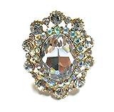 Teri's Boutique Oval Rhinestone Elegance Luxury Fashion Women Accessory Beads Adjustable Stretch Rings (Gold Multi)