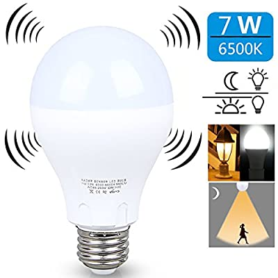 Motion Sensor Light Bulb ?7W Smart Bulb Dusk to Dawn LED Motion Sensor Light Bulbs? E26 Base Indoor Sensor Night Lights Soft White 6500K Outdoor Motion Sensor Bulb Auto On/Off by aijiaer