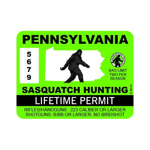 "RDW Pennsylvania Sasquatch Hunting Permit - Color Sticker - Decal - Die Cut - Size: 4.00"" x 3.00"""