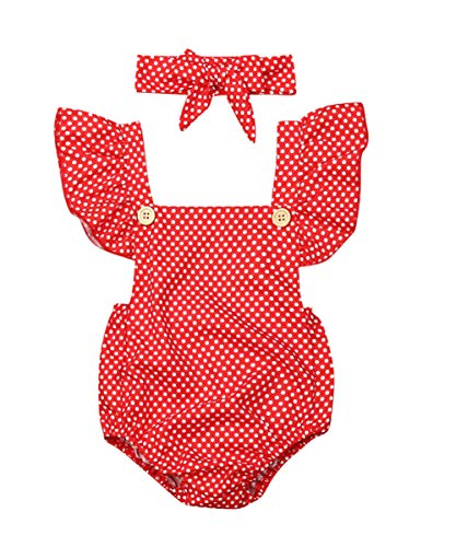 (Newborn Kids Baby Girls Clothes Floral Jumpsuit Romper Playsuit + Headband Outfits (Polk dot, 18-24 Months))