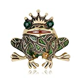 AOCHEE Vintage Big Metal Rhinestone Frog Brooch Enamel Green Crown Frog Brooch Pin Jewelry (Style1)