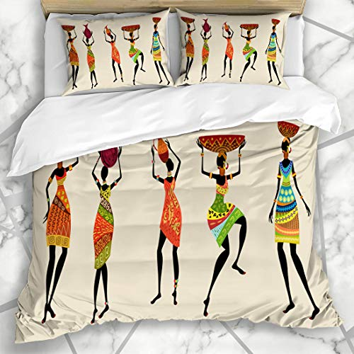 Ahawoso Duvet Cover Sets Queen/Full 90x90 Abstract Africa African Dress Indigenous Tribal Pattern Zulu Girl Ethnic Style Microfiber Bedding with 2 Pillow Shams ()