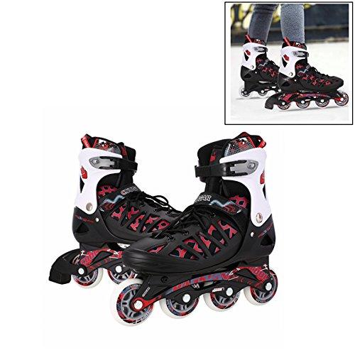 Leoneva Adult Adjustable Inline Skates for Men/Women/Teen, Outdoor Roller Skates for Training (US Stock, Blue/Black/Silver) (Black, US Size 4-7) (Master Roller Sponge)
