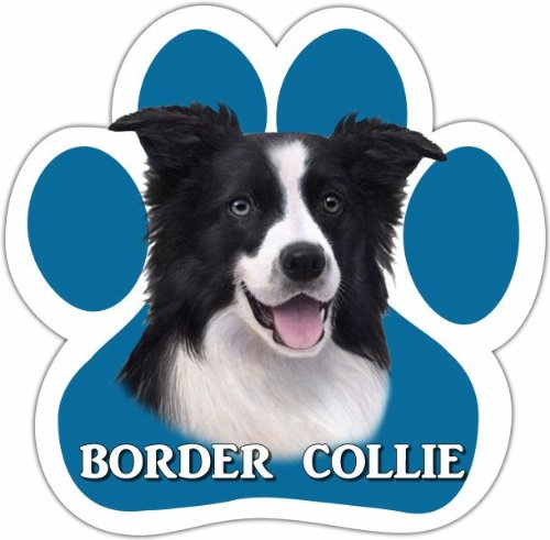 Border Collie Costumes (Border Collie Car Magnet With Unique Paw Shaped Design Measures 5.2 by 5.2 Inches Covered In UV Gloss For Weather Protection)