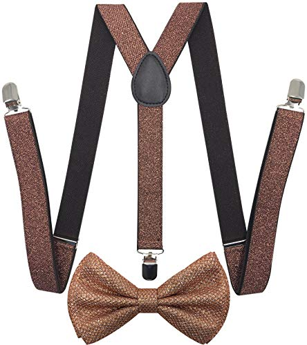 (CD Gold Suspender with Matching Metalic, Champagne, Sequined Bowtie Set (Glitter Brown))