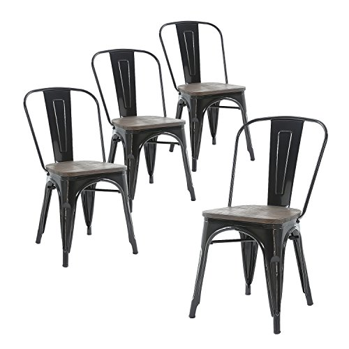 Cheap Buschman Set of Four Black Wooden Seat Tolix-Style Metal Indoor/Outdoor Stackable Chairs with Back
