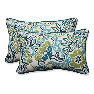 Pillow Perfect Outdoor/Indoor Zoe Mallard Rectangular Throw Pillow (Set of 2) - Includes two (2) outdoor pillows, resists weather and fading in sunlight; Suitable for indoor and outdoor use Plush Fill - 100-percent polyester fiber filling Edges of outdoor pillows are trimmed with matching fabric and cord to sit perfectly on your outdoor patio furniture - patio, outdoor-throw-pillows, outdoor-decor - 51Z85i3frRL. SS400  -