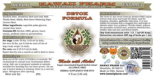 Detox Formula, VETERINARY Natural Alcohol-FREE Liquid Extract, Pet Herbal Supplement 4 oz by HawaiiPharm (Image #1)