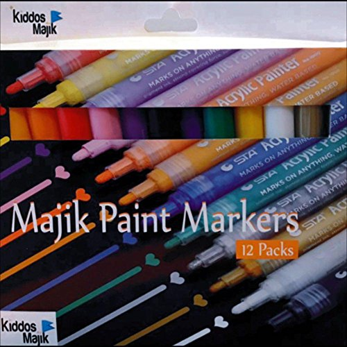 Balloon Markers - Kiddos Majik Premium Acrylic Paint Pen Set of 12, Extra fine Point for Painting The Finest Designs, Writes Perfectly on Rocks, Ceramics, Glass, Mug, Woods, Fabrics, Balloons, Cars, Birthday Designs.