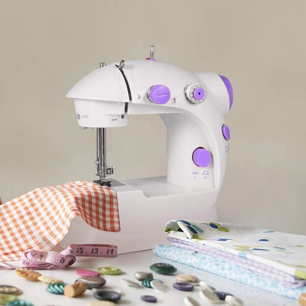 Foot Pedal and Two Speeds Portable Electric Crafting Mending Machine Adjustable Double Threads Mini Sewing Machine