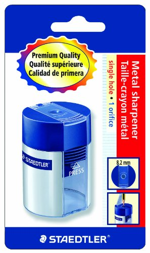 Staedtler Metal Single Hole Sharpener with Tub (511001BK)
