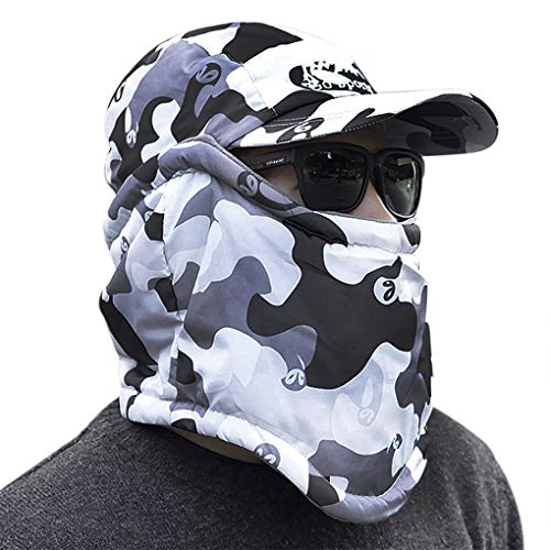 IPENNY Womens Mens Winter Warm Windproof Camouflage Balaclava with Removable Windproof Face Mask Earflap Hat for Cycling Camping Hiking Running Traveling