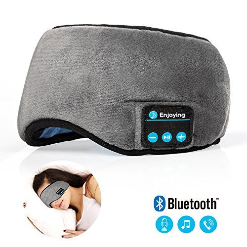 Bluetooth Sleeping Eye Mask Headphones,Lavince Travel Sleeping Headphone 4.2 Bluetooth Eye Mask Handsfree Music Sleep Eye Shades Headset Built-in Speakers Microphone Washable Gray