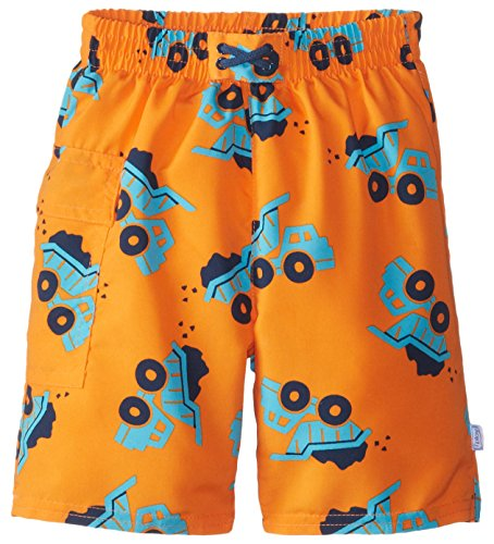 [i play. Baby Boys' Pocket Trunks with Built-In Reusable Absorbent Swim Diaper, Orange Dump Truck, 6 Months] (Dump Truck Short)