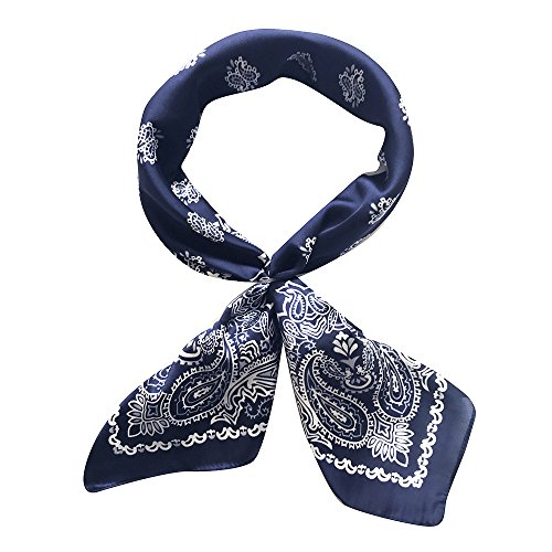 (QBSM Womens Navy Large Satin Silky Square Hair Head Neck Scarf Wraps Paisley Bandana Neckerchief for Night Sleeping Christmas Gifts)