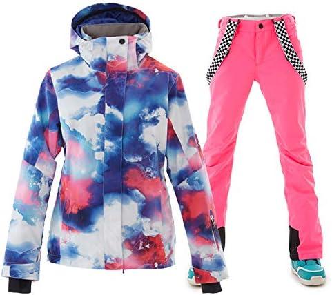 スキー用具 女性の防水スキージャケット暖かい冬の雪のコートマウンテンウインドブレーカーフード付きレインコート通気性のカラフルなプリントアウトドアウェア (色 : ピンク, サイズ : XL) ピンク X-Large