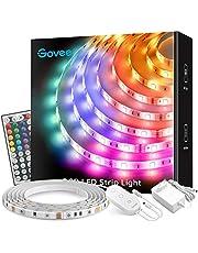 Govee RGB LED Strip, 5M Wasserdicht LED Streifen Lichtband mit Fernbedienung, Farbänderung LED Band Lichterkette für Zuhause, Schlafzimmer, TV, Tische, Schrank, Hell 5050 LED Schlauch, 12V Netzteil