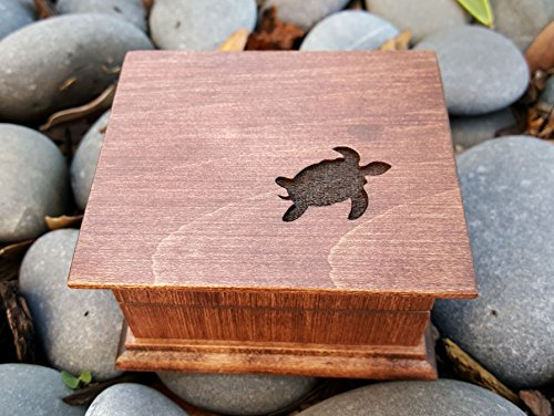 Custom engraved music box with a sea turtle engraved on top, created by Simplycoolgifts