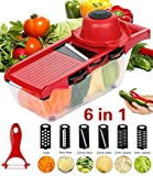 Roseate Vegetable Slicer Mandolines Slicer Multi-Function Food Chopper Kitchen Cutter Peeler with 6 Interchangable Stainless Steel Blades for Carrot, Cucumber, Onions, Tomato,Potato and Fruits (Red)