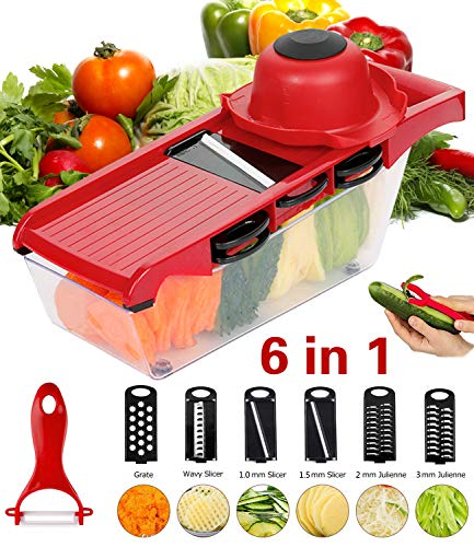 Yasmine Vegetable Slicer Cutter - 6 Interchangeable Blades with Peeler, Hand Protector, Storage Container Suitable for Cutter for Potato, Tomato, Onion, Cucumber, Cheese etc