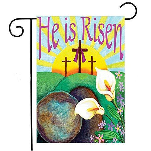 KissDate Easter Cross Garden Flag Religious He Is Risen, Perfect for Indoor Outdoor Garden Decoration (12.5