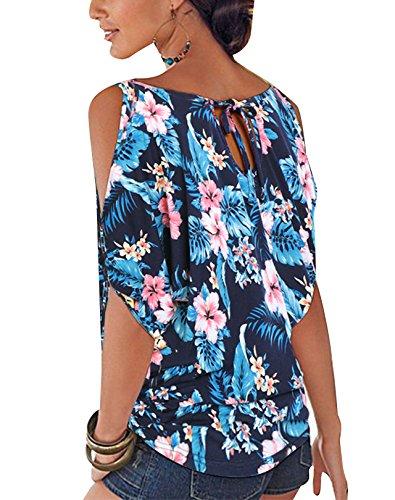 Kurzarm Sommer 04 Oberteile Damen Dunkelblau Rundhals Tops Bluse YOINS Schulterfrei Blumenmuster Shirt Carmen qE1wxO8
