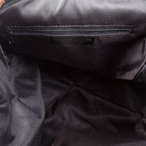 negro bolso vera Piel Mujer 26x33x18cm Italy Leather Italiana piel Auténtica In Made Cuero Casual mochila Casual Dollaro Genuino Mochila Potro color Artegiani Solapa Pack Firenze Pelo Pelle De Y Day F0fxB