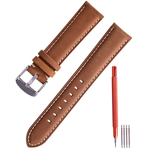 Ritche Leather strap Replacement Watch Bands Straps 18mm-Brown