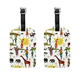 Set of 2 Luggage Tags Africa Elephant Giraffes Suitcase Labels Travel Accessory