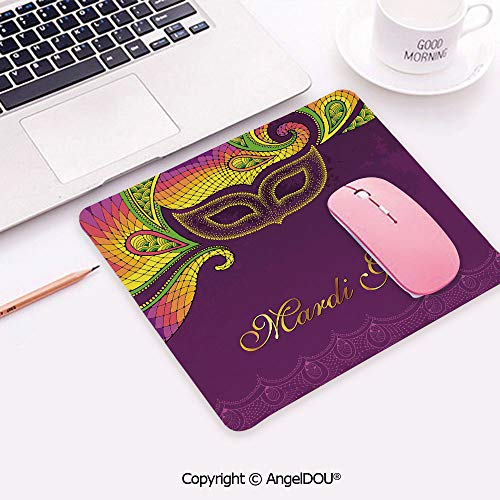 Non-Slip Rubber Base Gaming Mousepad Colorful Lace Style Corner Ornaments Calligraphy and Dotted Mask Design Decorative Desktop Computer Mouse Mat