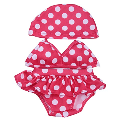 MonkeyJack Adorable Doll Red Dotted Swimsuit Bikini Outfit with Hat for 18'' American Girl Dolls Dress (Dotted Bikini)