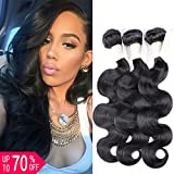 Cheap BeautyGrace 8A Grade Brazilian Virgin Hair Remy Human Hair 100% Unprocessed Body Wave Hair Extensions 3 Bundles Hair Weft(18 18 18, Natural Color) …