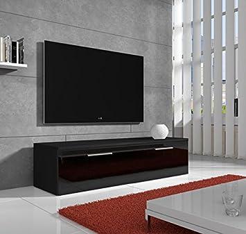 muebles bonitos mueble tv modelo arona negro 1m - Muebles Bonitos
