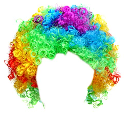 Afro Fluffy Wig Hair Curl Wigs Synthetic Fiber Hairpiece - Party Disco Clown Hair Football Fan Adult Child Costume Wig (Rainbow)]()