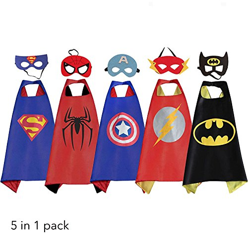 All Spiderman Comic Costumes (Comics Cartoon Dress Up Costumes 5 Satin Capes with Felt Mask for kids.)