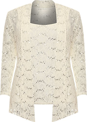 WEARALL Women's Plus Floral Lace Sequin Long Sleeve Vest Top Cardigan Party Set - Cream - US 22-24 (UK (Vest Twin Set)
