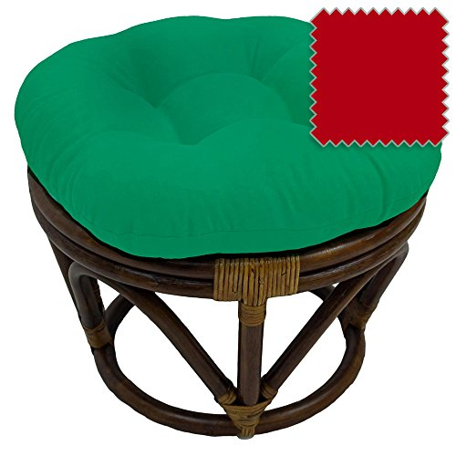 18-Inch Bali Rattan Papasan Footstool with Cushion - Solid Twill Fabric, Red - DCG Stores Exclusive - Fabrics Crimson Twill