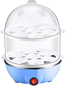 Egg Cooker QUNANEN Eggs Cooker Double Breakfast Machine Stainless Steel Multi-Function Steamer for Steamed Vegetables, Seafood, Dumplings, Egg (Blue)