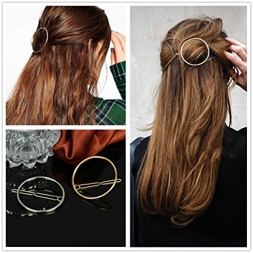Thumb Two Position Clamp (ANGELANGELA 2Pc Minimalist Gold Silver Hollow Hoop Round Circle Geometric Metal Hairpin Hair Clip Clamp Accessories Barrettes Bobby Pin Ponytail Holder Statement Women GIFT Headwear Styling Jewelry)