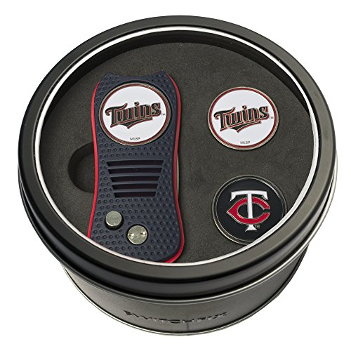 Team Golf MLB Minnesota Twins Gift Set Switchblade Divot Tool with 3 Double-Sided Magnetic Ball Markers, Patented Single Prong Design, Causes Less Damage to Greens, Switchblade Mechanism ()