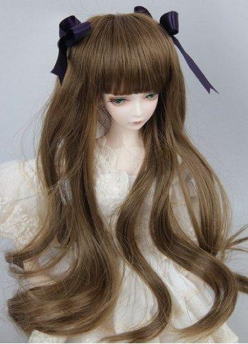 (15-17cm) 1/6 BJD Doll SD Fur Wig Dollfie / Flaxen Long Wavy Hair / (Doll Fur Wig)