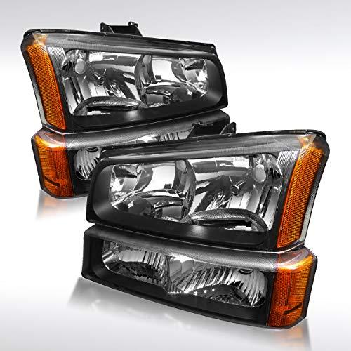 - Autozensation For Chevy Silverado Avalanche Crystal Black Headlights+Bumper Lamps Pair