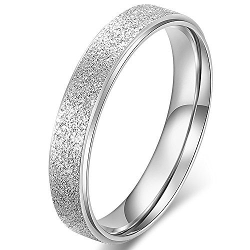 Fashion Month Womens 4mm Stainless Steel Sand Blast Finish Silver Wedding Band Engagement White Gold Lady Ring Size ()