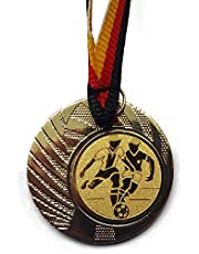 10 Stück Medaillen - Fußball - aus Stahl 40mm / Gold - inkl. Medaillen-Band - mit Emblem 25mm