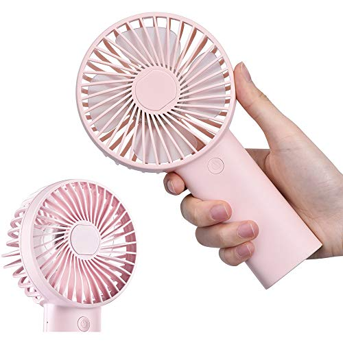 Mini Handheld Portable Fan,USB 4000mAh Battery Operated Rechargeble Hand Held Fan,8-18 Working Hours with 3 Speed Adjustable for Home Office Traveling (Pink)