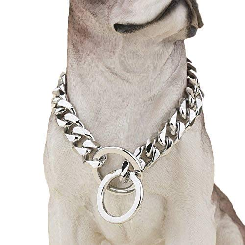 Silver Phantom Jewelry Designer Pitbull Dog Collar - 20mm Wide, 680 Lbs, 32 Inch - Silver