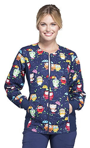 Cherokee Women's Zip Front Soft Side Panel Owl Print Scrub Jacket XXX-Large Print (Jackets Scrub Print)