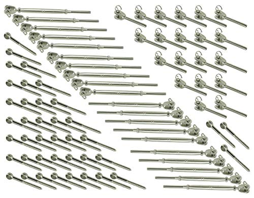 Muzata 20Pairs Stainless Steel Cable Railing Kits for 1/8